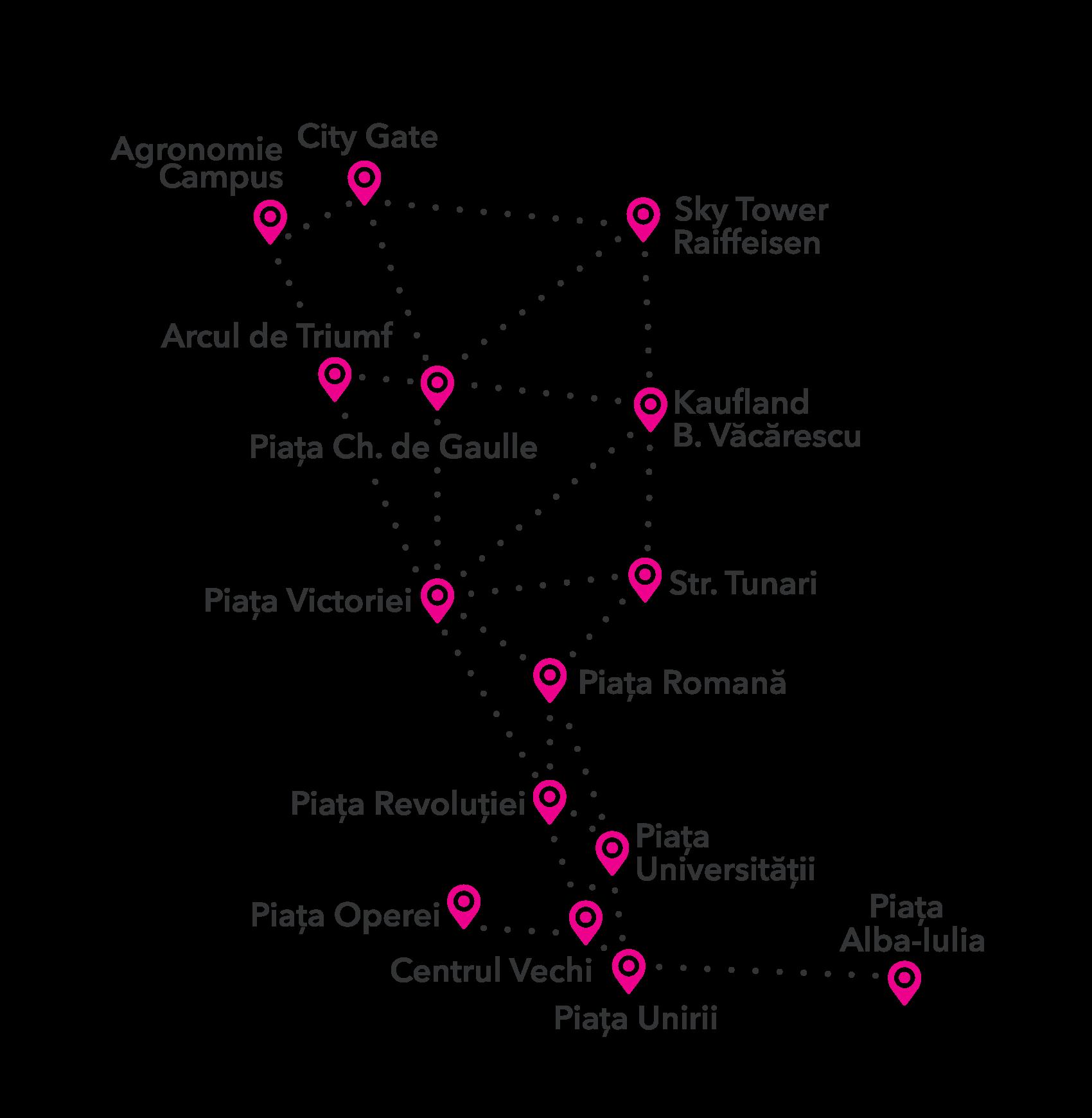 Harta centrelor I'Velo Urban – Decembrie 2017